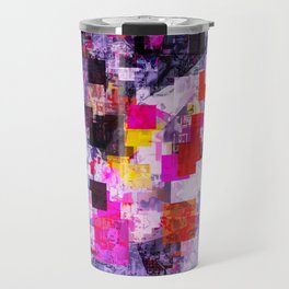 vintage psychedelic geometric square pixel pattern abstract in pink red blue purple Travel Mug