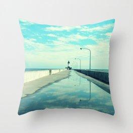 Breakwater Lighthouse Throw Pillow