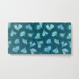 Lovely pattern with hand drawn leafs ginkgo biloba Metal Print