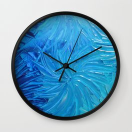 WATER FLOWERS 2 - Stunning Ocean Beach Waves Floral Abstract Acrylic Painting Turquoise Blue Navy Wall Clock