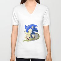 sonic V-neck T-shirts featuring Sonic by Rod Perich