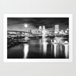 Lighting Up The Tulsa Skyline - Black and White Art Print