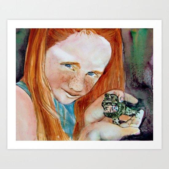 Redhead Green Frog Art Print