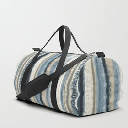 Distressed Blue and White Watercolor Stripe Duffle Bag