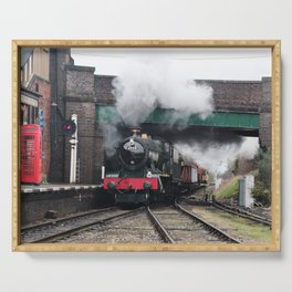Vintage Steam Railway Train at the Station Serving Tray