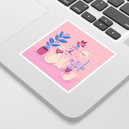 Grumpy mom and mischievous kittens Sticker