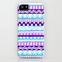 Purple Turquoise Inca Pattern iPhone Case
