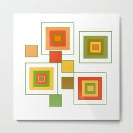 Retro Minimalist Square Design Metal Print