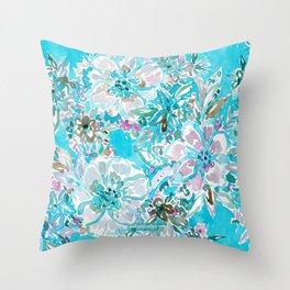 BEACH BABE Aqua Watercolor Floral Throw Pillow