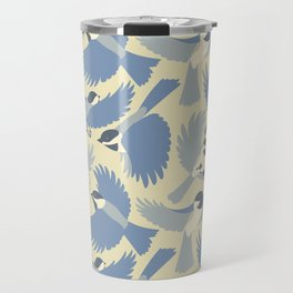 Chickadees  in Blue Travel Mug