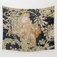 mucha Wall Tapestries featuring 1898 - 1900 Femme a Marguerite by Alphonse Mucha by BookCollecting101