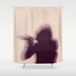 Flutist Silhouette Shower Curtain