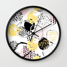 Amalia - gold abstract black and white glitter foil art print texture ink brushstroke modern minimal Wall Clock