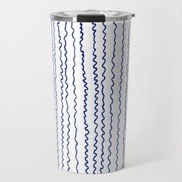navy wavy stripes Travel Mug