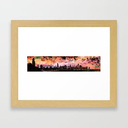 The Chicago Skyline Rendered in a Watercolor Abstract in Sunset Colors Framed Art Print
