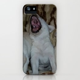 Howling Good Time with yellow lab puppies iPhone Case