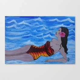 Lady in the Surf Canvas Print