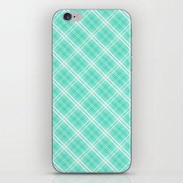 Pale Blue and White Diagonal Plaid Tartan Check iPhone Skin