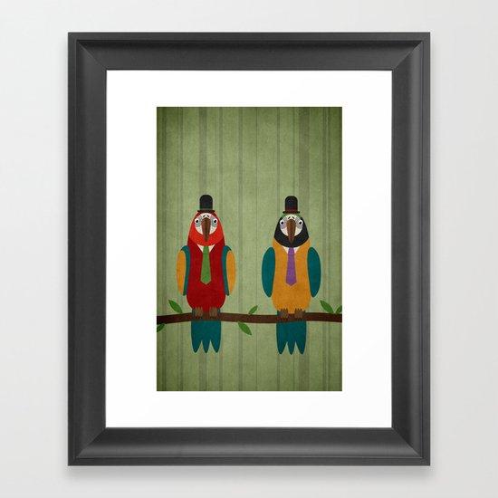 Suited parrots Framed Art Print
