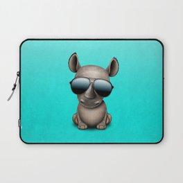 Cute Baby Rhino Wearing Sunglasses Laptop Sleeve