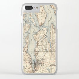 Vintage Map of The Puget Sound (1934) Clear iPhone Case
