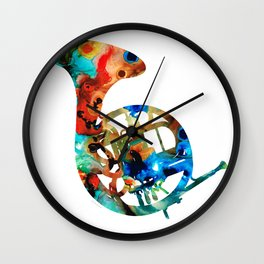 French Horn - Colorful Music By Sharon Cummings Wall Clock