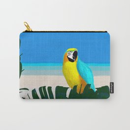 Parrot Tropical Banana Leaves Design Carry-All Pouch