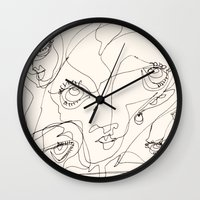 girls Wall Clocks featuring Girls by 5wingerone