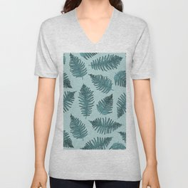 Blue fern garden botanical leaf illustration pattern Unisex V-Neck