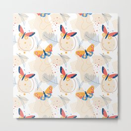 Modern Abstract Butterfly Moth Colorful Summer Spring Pattern Design Metal Print