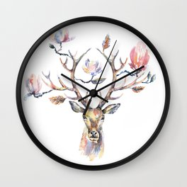 Deer's head with magnolia flowers on the horns. Wall Clock