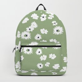 Modern floral on dusty green ground Backpack