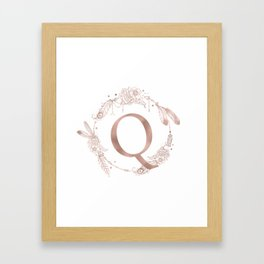 Letter Q Rose Gold Pink Initial Monogram Framed Art Print