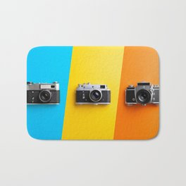 Multiple vintage cameras Bath Mat