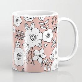 Romantic English Botanical flower Garden soft peach coral pink Coffee Mug