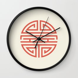 Shou Longevity In Red And Chamois Wall Clock
