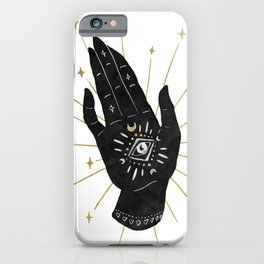 Mystic Hand with Eye - Black and Gold Ink iPhone Case