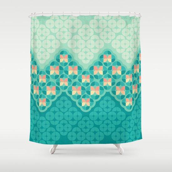 Blue Garden Pattern Shower Curtain