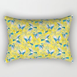 Flying Birds and Oak Leaves on Yellow Rectangular Pillow