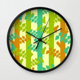 Birds and tree trunks Wall Clock