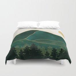 Mount Hood // Emerald Abstract Dream Oregon Green Gold Yellow Mountain Forest Wilderness Landscape Duvet Cover