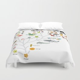 Evolution in biology, scheme evolution of animals on white. children's education back to scool Duvet Cover
