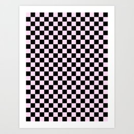 Black and Pink Lace Pink Checkerboard Art Print