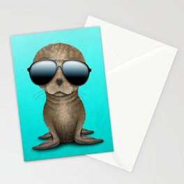 Cute Baby Sea Lion Wearing Sunglasses Stationery Cards