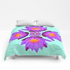 Purple Lily Flower - On Aqua Blue Comforters