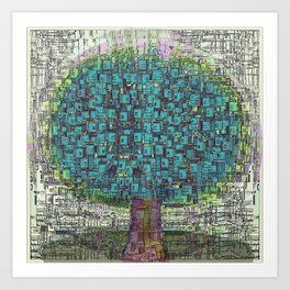 Tree Town - Magical Retro Futuristic Landscape Art Print