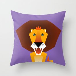 Lion – Childrens Room Illustration for Boys and Girls Throw Pillow