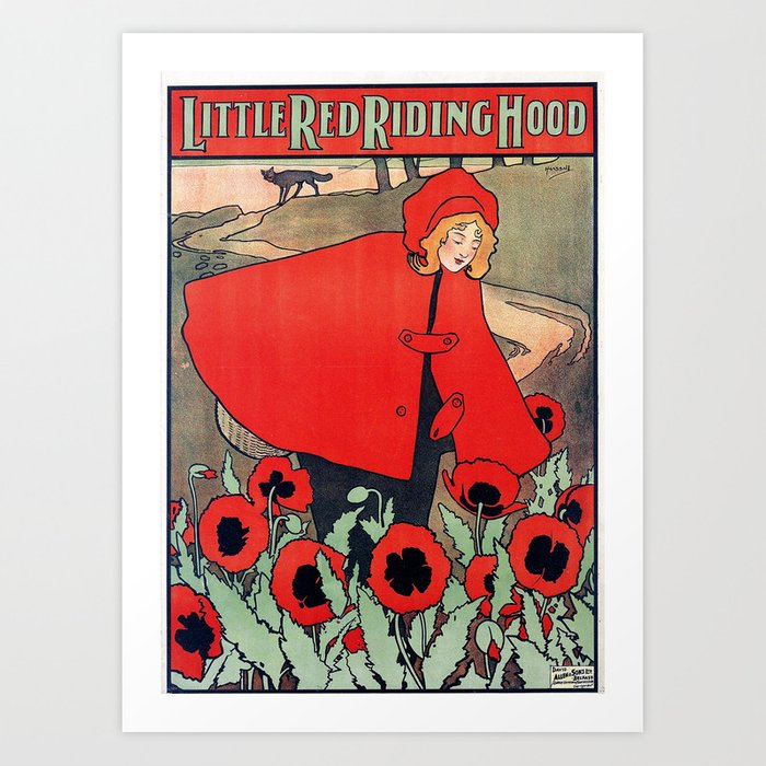 john hassall vintage english poster - Little red riding hood Kunstdrucke