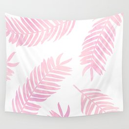 Pink Palm Leaves     White Background Wall Tapestry