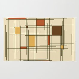 1940s Abstract Art Lines Rug